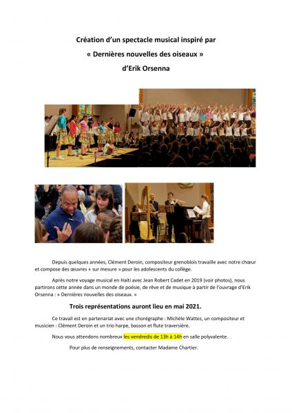 Atelier chorale 2020-2021
